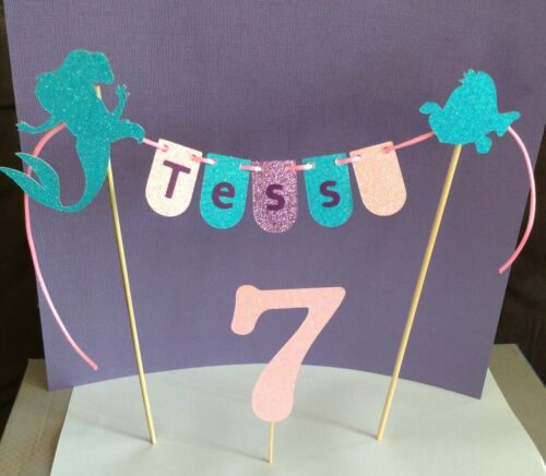 Personalised Birthday Cake Topper Garland Bunting AND Number Mermaid themed