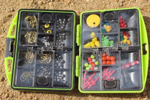 Carp Fishing Tackle Box Kit Sinker Weights//Beads//Hooks//Swivels Terminal Tackle