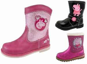 Girls Peppa Pig Boots Mid Calf Warm Winter Glitter Character Shoes Kids Size