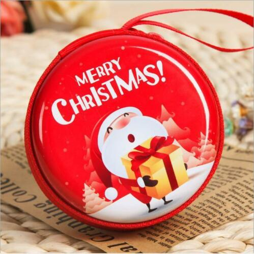 Christmas Hard Earphone Earbuds Case Coin Bag Holder Round Tinplate Bag LA