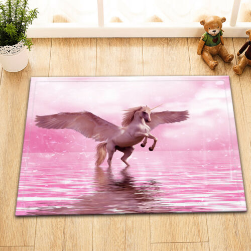 Bathroom Waterproof Fabric Shower Curtain Set Pink Scene Unicorn with Wing Water