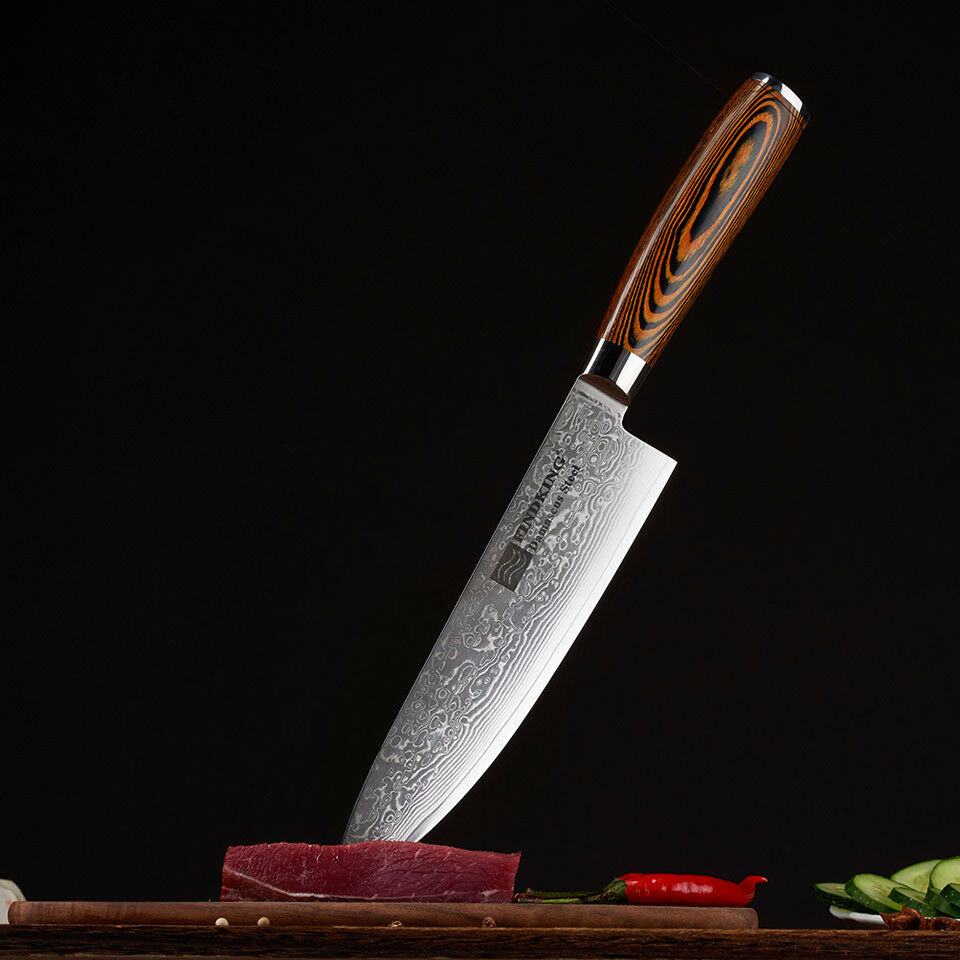 Layers Damascus Steel Wood Handle Kitchen Chef Knife marron Sushi Fish 8  Inches