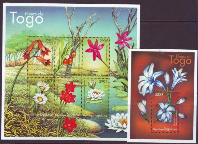 TOGO 2000 FLOWERS SHEETLET 6 + MINISHEET Part 2 MINT NEVERHINGED
