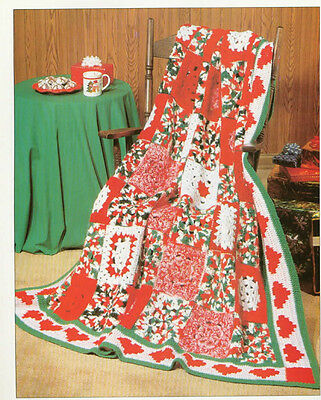 "Gorgeous Christmas Afghan Winter Blanket = Crochet Pattern- 65"" square"