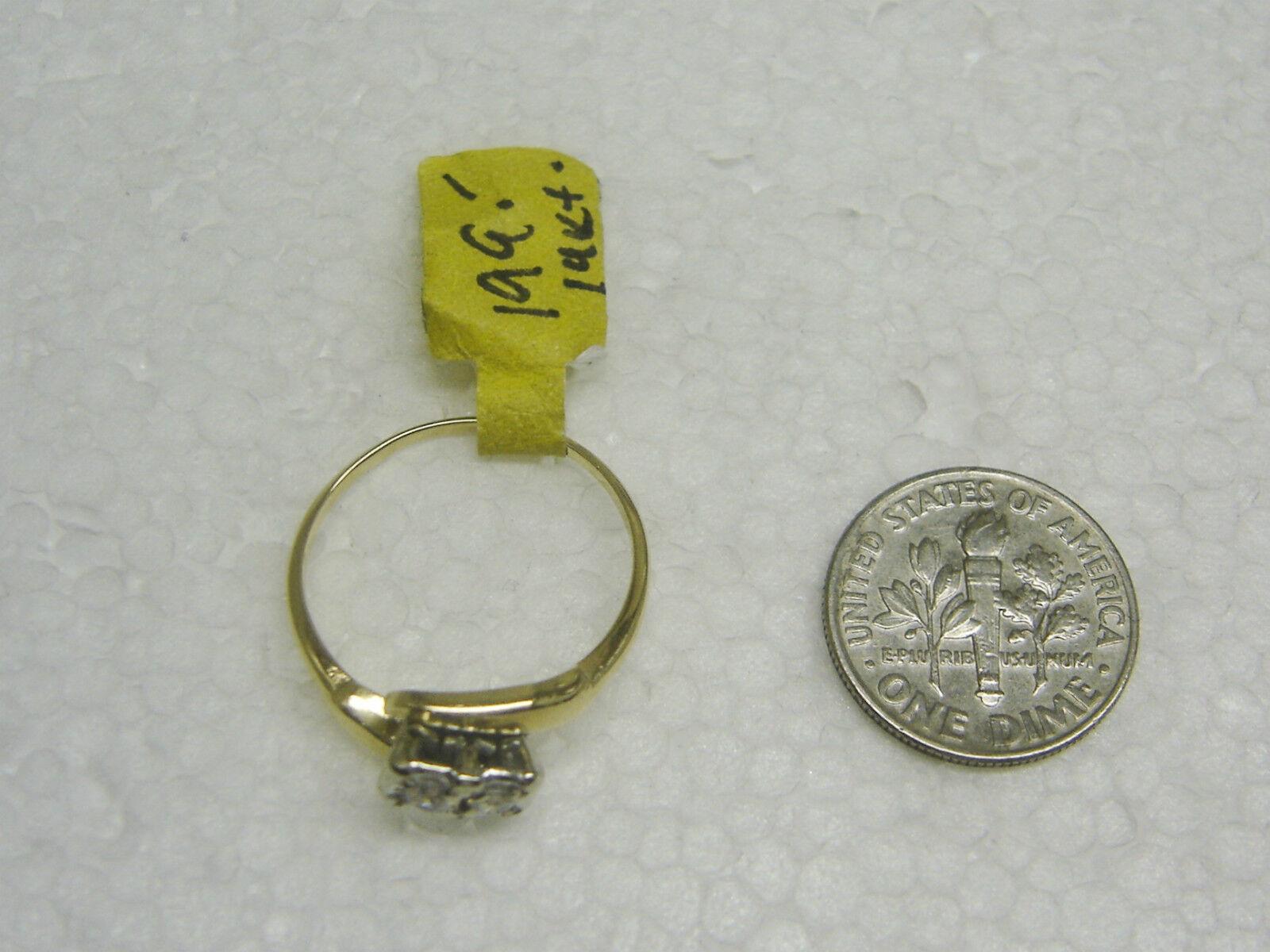 14k oro Giallo 2 Zircone Cubico Cubico Cubico Anello Taglia 7 1 2 Ng33-o 7c03fa