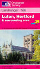 Luton, Hertford and Surrounding Area by Ordnance Survey (Sheet map, folded, 1990)