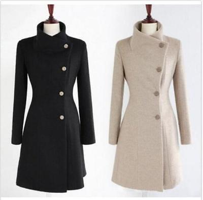 Winter Women Thick Warm Wool Trench Coat Parka Lapel Collar Long Jacket Outwear