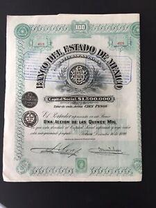 MEXICO 1899 TITRE BANCO DEL ESTADO DE MEXICO / TOLUCA DICIEMBRE 16 DE 1899