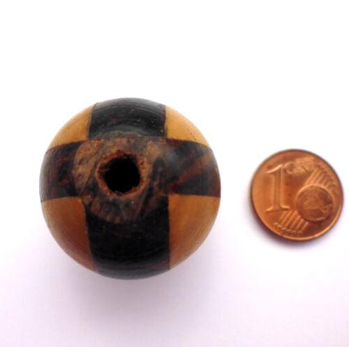 1 Stück Holzperle Kugel braun gestreift Schichtholz zum Basteln 25 mm