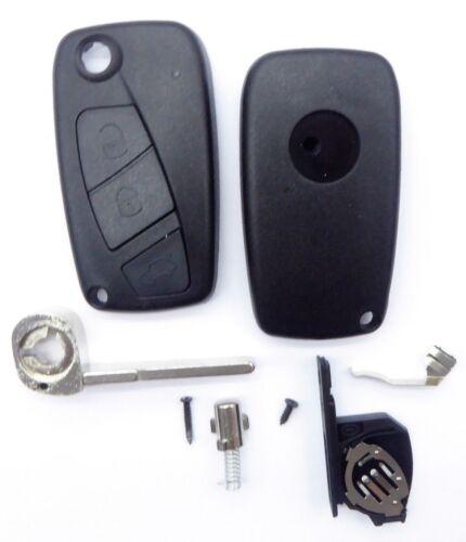 Schwarzes Klapp Schlüssel Gehäuse 3 Tasten mit Batteriefach  Innen für FIAT