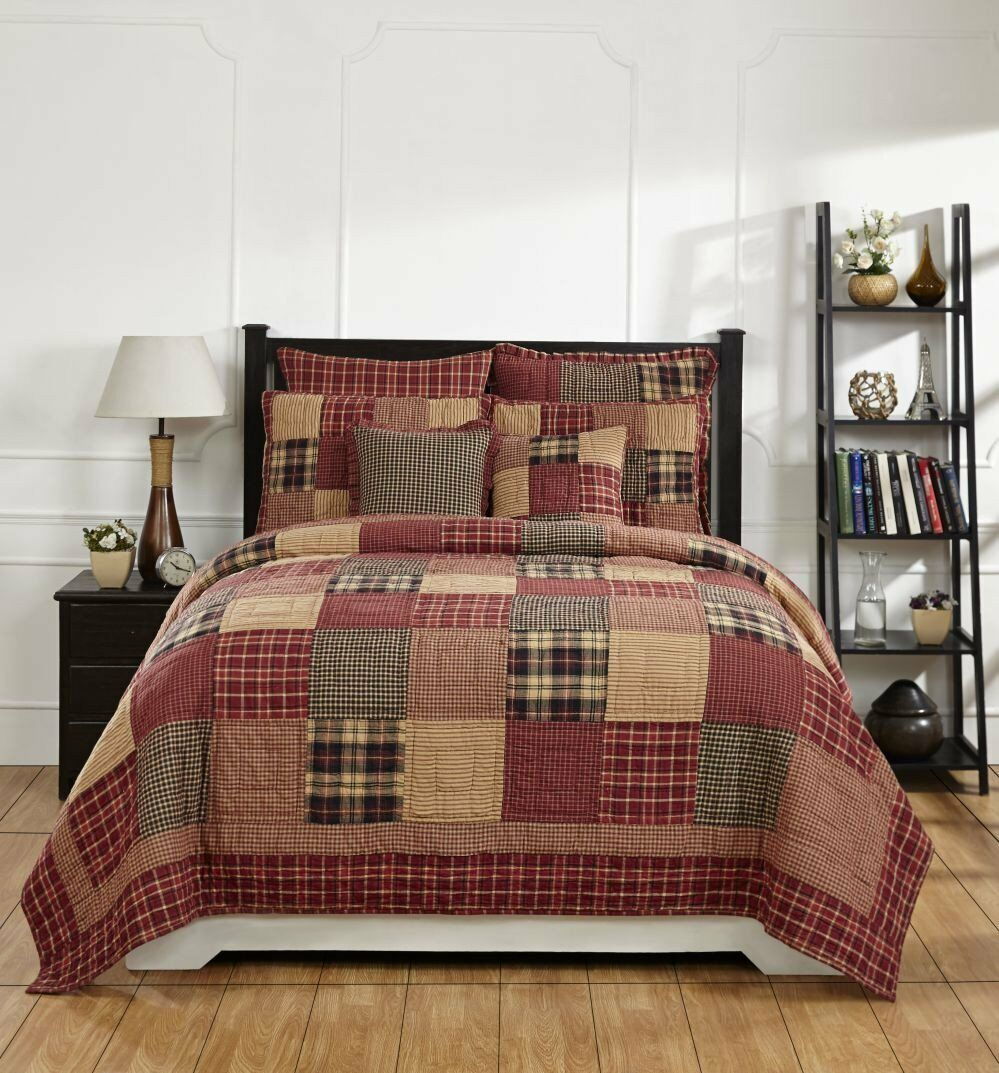 Country Primitive Rutherford Quilted Bedding Set - 3pc. King