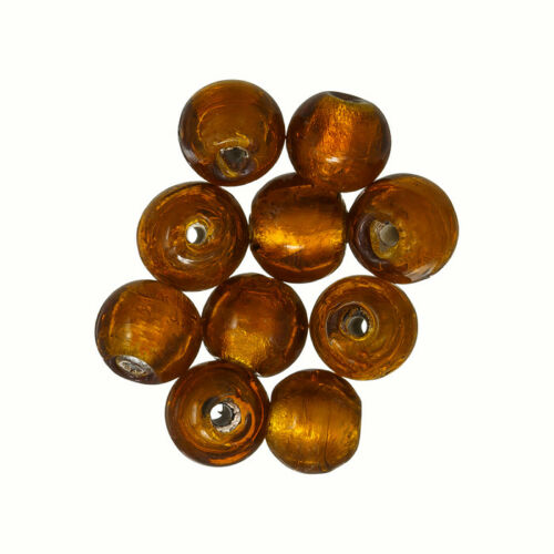 Silver Lined 7mm Round Glass Beads Amber//Pink Pack of 10 R11//1
