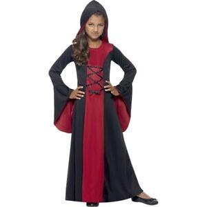 Medieval-Costume-Children-Gothic-Dress-with-Hood-Hooded-Dress-Girl-Vampire