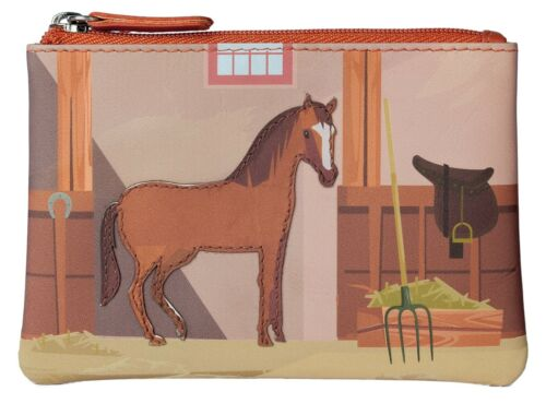 Premium Leather Horse Ladies girls Coin Purse by Mala Leather 4115 pinky