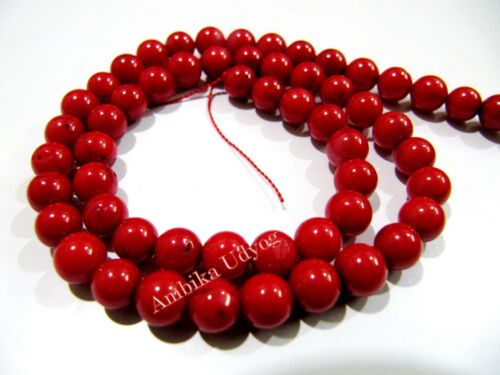 """Beautiful Red Coral Round Shape Beads Size 6-7mm Strand 15-16/"""" long 2 Strand"""