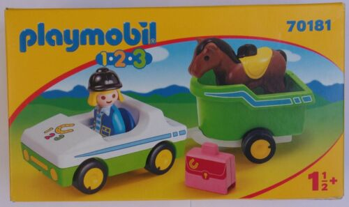 Playmobil 1.2.3   Car with Horse Trailer   #70181  New in Box   2019