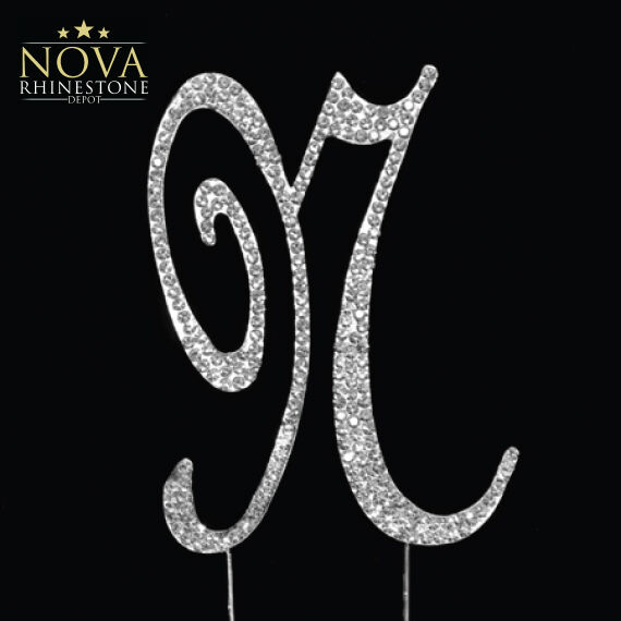 Crystal Rhinestone Silver Letter A to Z Monogram Wedding Anniversary Cake Topper