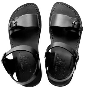 31756e8dcd2 Image is loading Leather-Jesus-Mens-Black-Canaan-Roman-Sandals-Gladiator-
