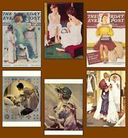 6 Norman Rockwell Postcards Of Daughters, Mothers, Girls
