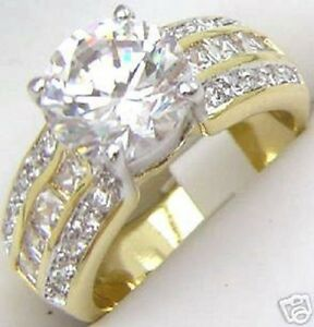 18K-GOLD-EP-4-0CT-DIAMOND-SIMULATED-ENGAGEMENT-RING-size-8-or-Q