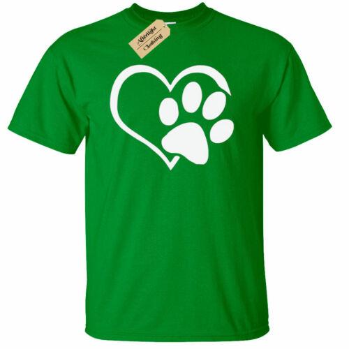Paw Print Heart T-Shirt Dog Cat Animal Lovers cute gift Mens