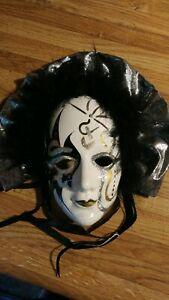 Satis-5-Porcelain-Oriental-Masquerade-Mask-Ornate-Wall-Hanging-Decor-Vintage