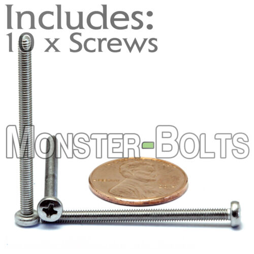 Qty 10 M2.5 x 35mm Stainless Steel Phillips Pan Head Machine Screws DIN 7985