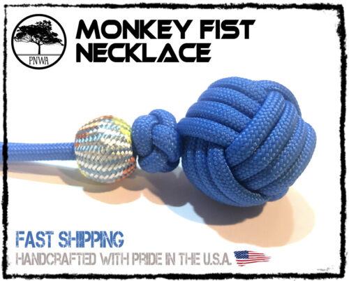 Monkey Fist Cobalt Blue Colored Paracord Necklace