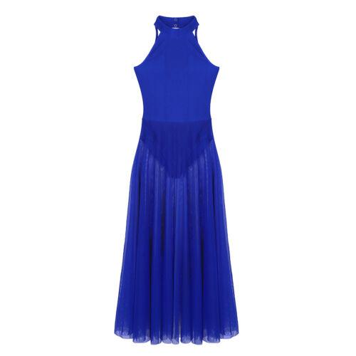 Lyrical Women/'s Mock Neck High-Low Dance Dress Ballet Leotard Flowy Split Skirt