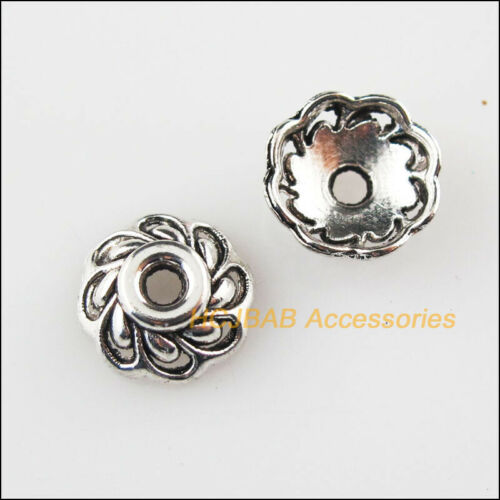 45 New Tiny Flower End Caps Tibetan Silver Tone Spacer Beads 9mm