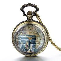 Vintage Arch Arc De Triomphe Pocket Watch Pendant Necklace w Long Chain