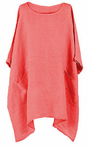 New-Ladies-Italian-Lagenlook-2-Pocket-Boxy-Plain-Linen-Women-Tunic-Top-Plus-Size