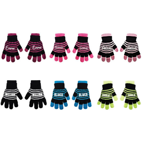 Personalise Name Kids Teenagers Stripes Boys Girls Winter Heat Mittens Gloves D3
