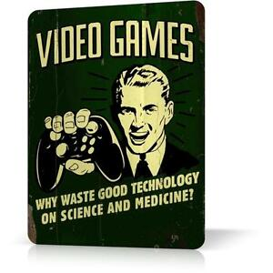 METAL TIN SIGN VIDEO GAMES Humour Poster Wall Retro