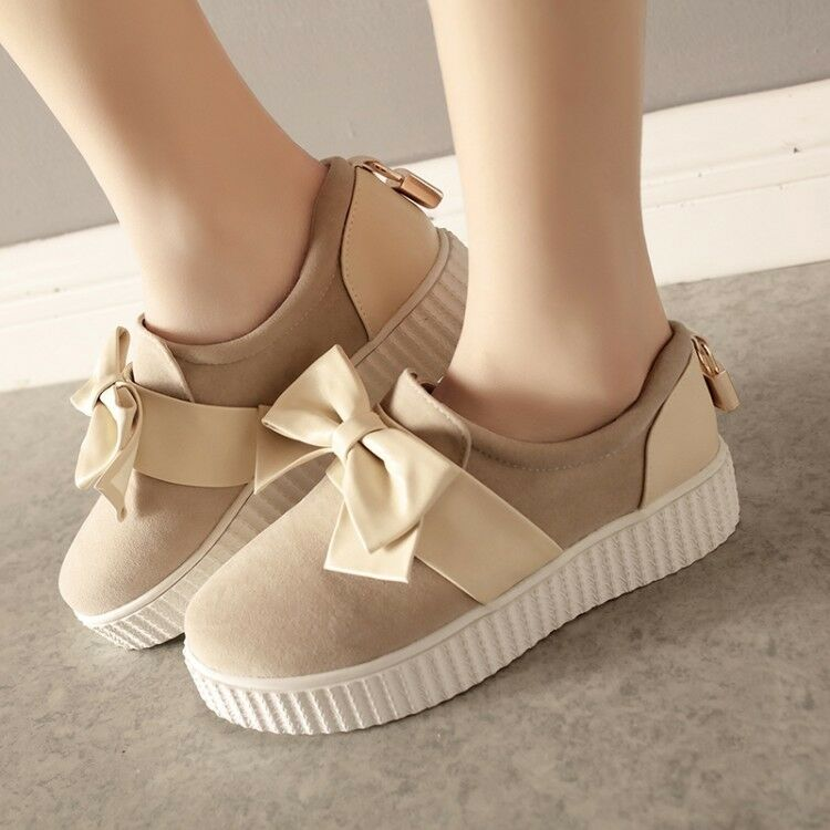 Womens Casual Platform Creepers Slip On shoes Slip On Bow Splice shoes Plus Size
