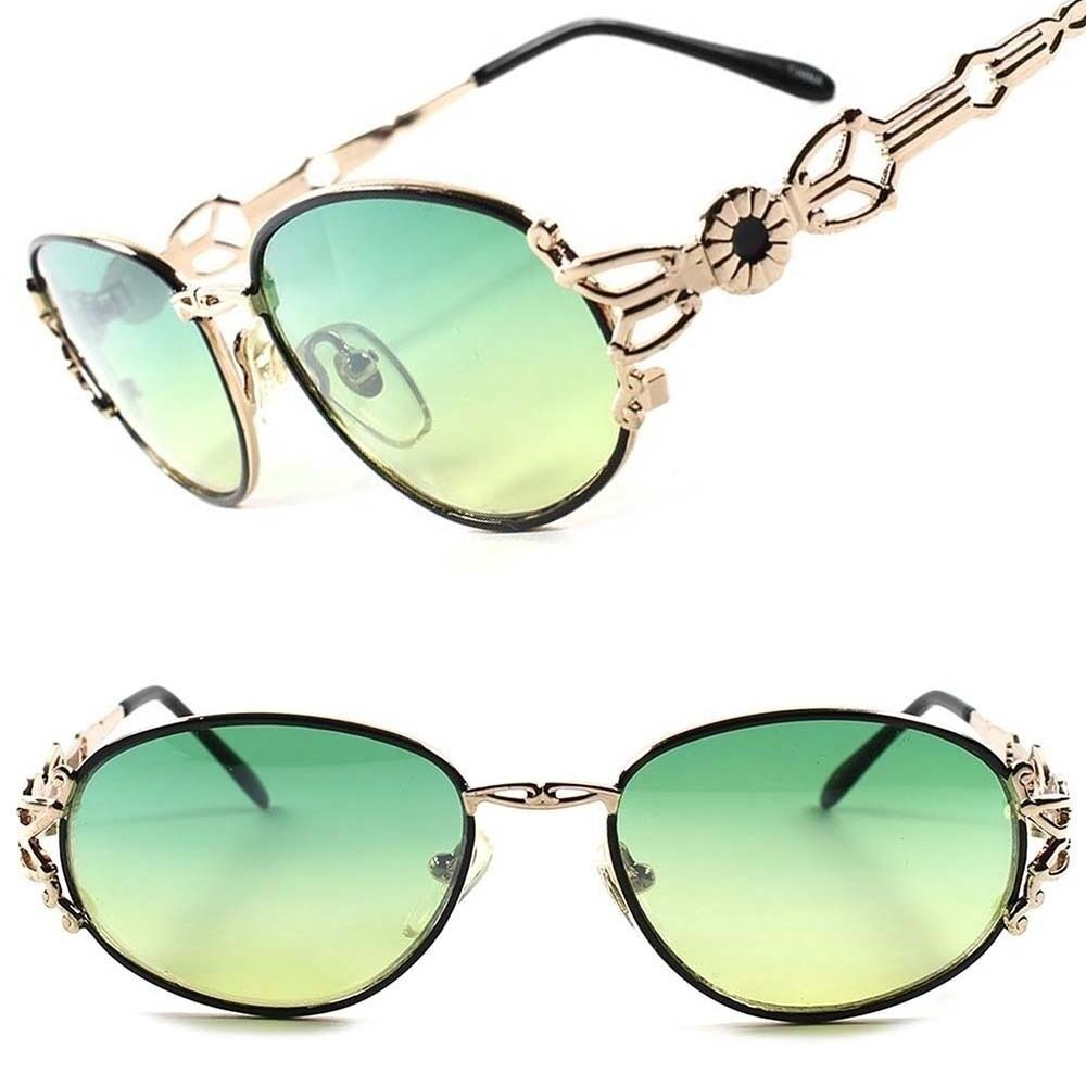 True Vintage Classic Unique Green Lens Womens Sexy Stylish Gold Oval Sunglasses