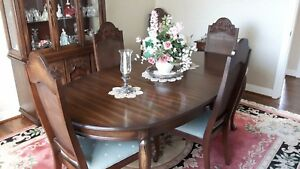 Medium Oak Dining Room Table With Six Chairs Buffet Cabinet And Glass