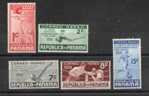 PANAMA 1938 sports airmail, Sc.C43-C47 NH, Michel 246-250 **