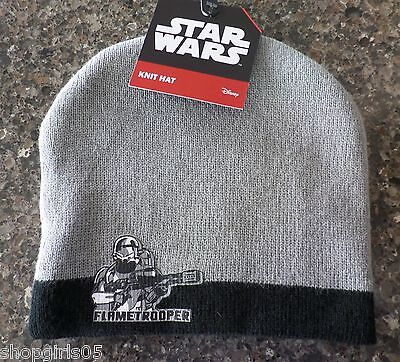 Star Wars Flame Trooper Knit Hat New with Tags Grey Stocking Cap Disney