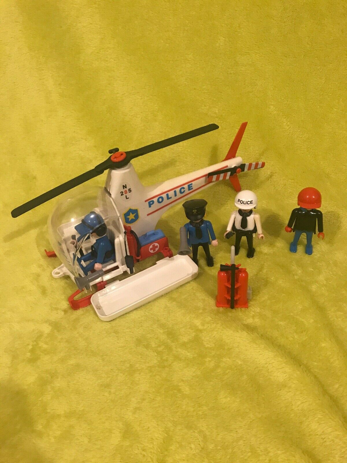 Vintage 1986 Playmobil  3144 Police Helicopter  N285L Set  Plus Actual Figures