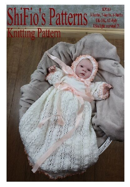 Knitting Pattern For Baby Christening Dress 3 Sizes 213 Not Clothes