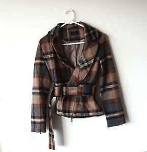Roem-Check-Pattern-Fleeces-Ladies-Coat-Brown