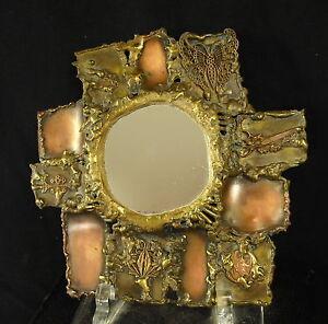 Charmant Curiosité Miroir Assemblage D'éléments En Cuivre Art Populaire Folk Art Mirror