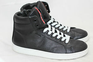 1513ad76 Details about Mens PRADA Saffiano Leather High Top Sneakers- Black / White  - 11US / 10UK (U12)