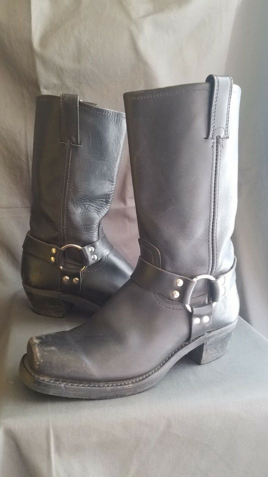 Women's Black Heritage Rustic Leather FRYE HARNESS 12R Motorcycle Boots Sz-10M