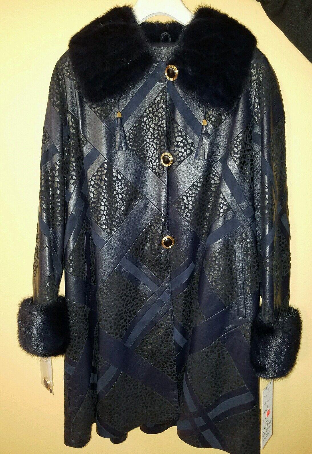 Midnight blå Real Mink Svingeer Coat Storlek M från Le Monti