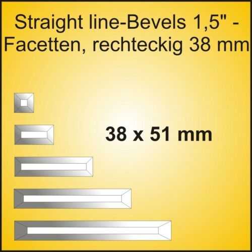 SLB152 38 mm klar Straight line-Bevel 38 x 51 mm 2 Stk Facette rechteckig