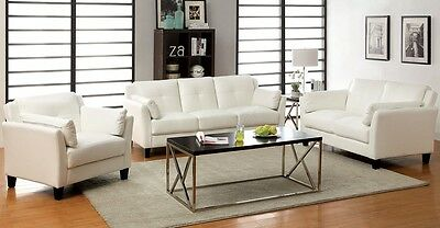 Contemporary Style 3Pc White Sofa Set Sofa Loveseat Chair Living Room Furniture