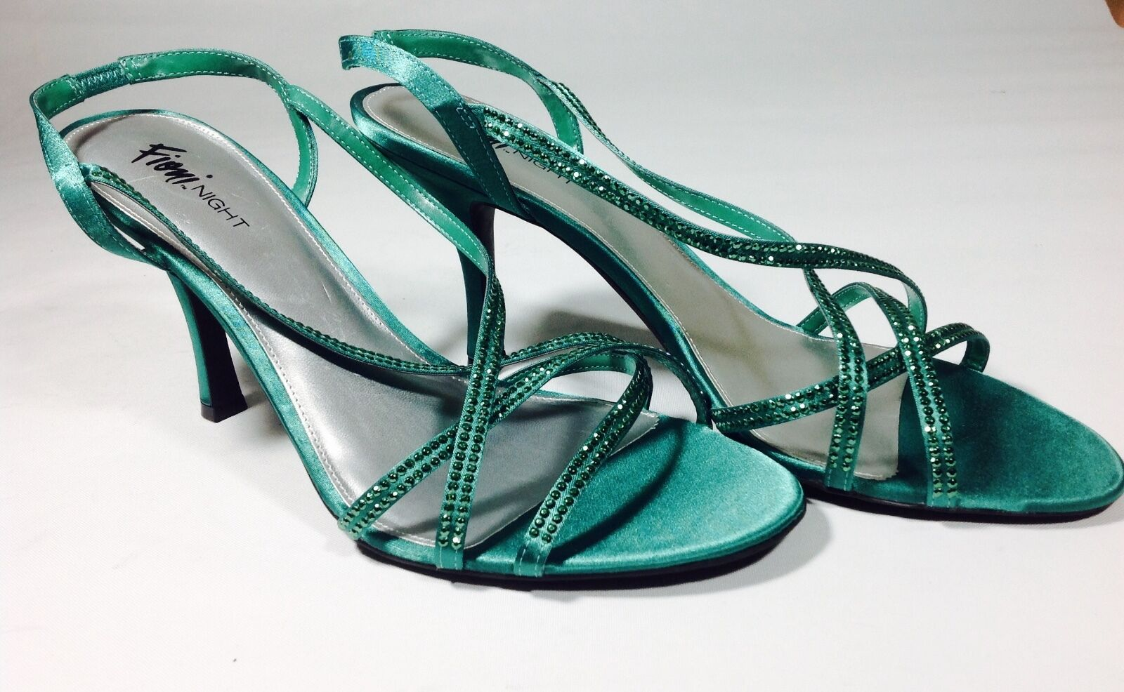 Large Size Women's Green Jewel Heel Shoes Plus Size UK 11 WEDDING REDUCED