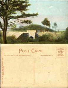 Summit-Street-Bridge-S-Manchester-CT-horse-buggy-unused-vintage-postcard